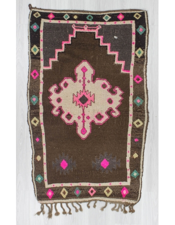 Vintage handknotted small decorative Turkish Kars area rug