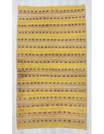 Vintage handwoven yellow striped Turkish kilim rug