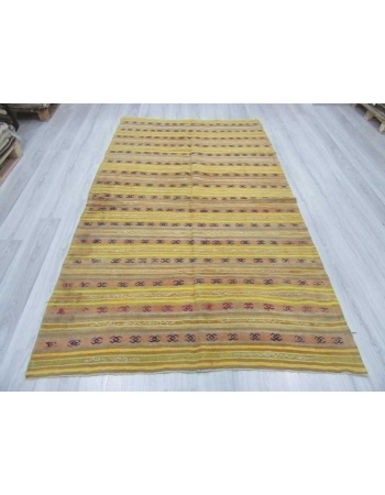 Vintage handwoven yellow striped Turkish kilim rug