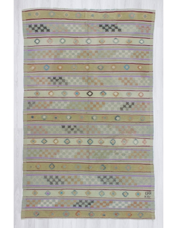 Handwoven vintage embroidered pastel Turkish kilim rug