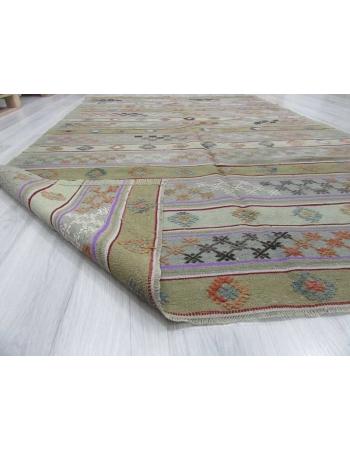 Handwoven vintage embroidered pastel Turkish kilim rug
