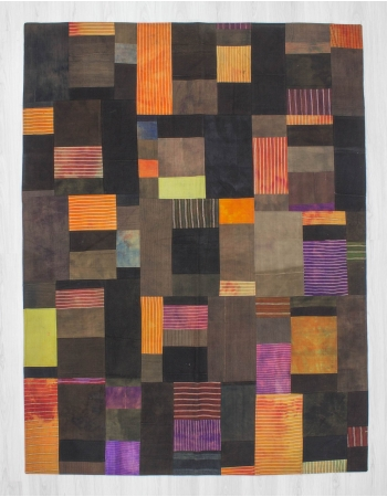 Vintage decorative modern Turkish kilim patchwork rug