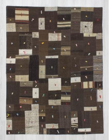 Vintage decorative modern naturel kilim patchwork rug