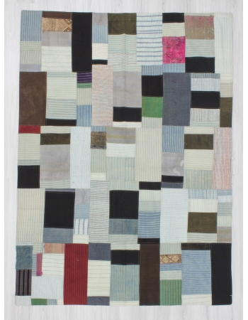 Vintage decorative modern kilim patchwork rug