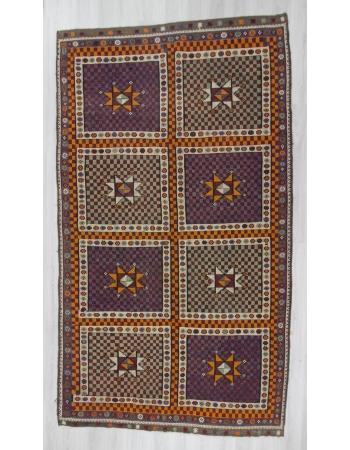 Vintage hannwoven embroidered large Turkish kilim rug
