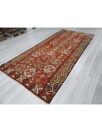 Vintage colorful one-of-a-kind Turkish kilim rug