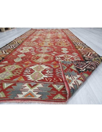Vintage colorful one-of-a-kind Turkish kilim rug