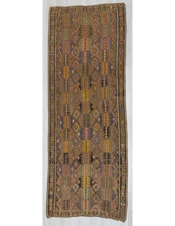 Handwoven vintage decorative Turkish kilim rug