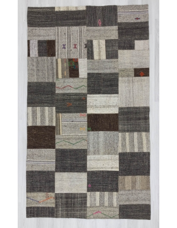 Vintage natural Turkish kilim patchwork