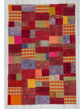 Vintage Turkish kilim patchwork rug