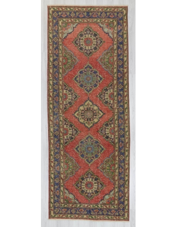 Vintage worn out decorative Turkish area rug