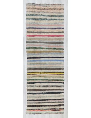 Vintage striped handwoven Turkish rag rug