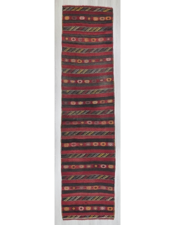 Vintage handwoven striped Turkish kilim runner rug