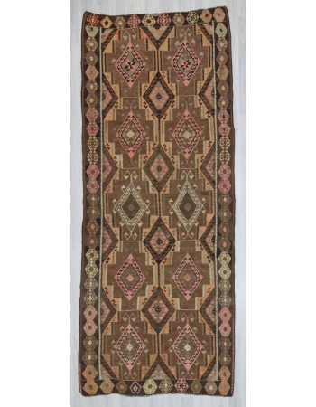 Vintage handwoven decorative large Turkish kilim rug