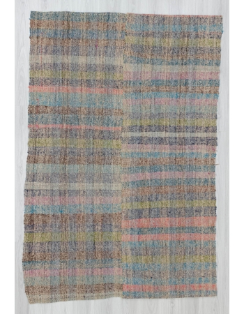 Vintage handwoven decorative Turkish rag rug