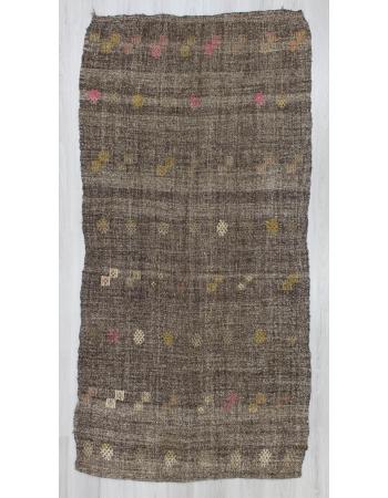 Handwoven vintage modern decorative dark grey Turkish kilim rug