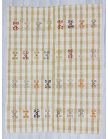 Vintage modern handwoven decorative Turkish cotton kilim rug