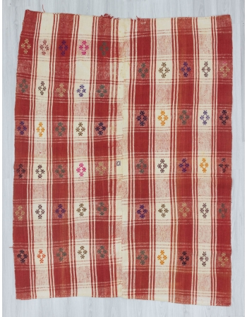 Vintage handwoven red and white cotton Turkish kilim rug