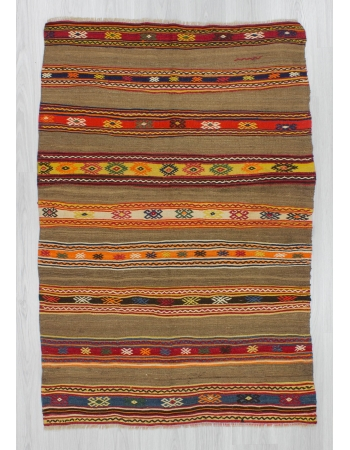 Striped handwoven vintage Turkish fethiye kilim rug