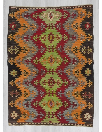 Handwoven vintage colourful Turkish Afyon kilim rug