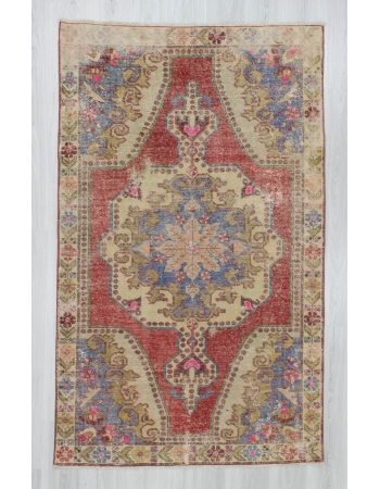 Worn out distressed decorative Turkish Konya area rug
