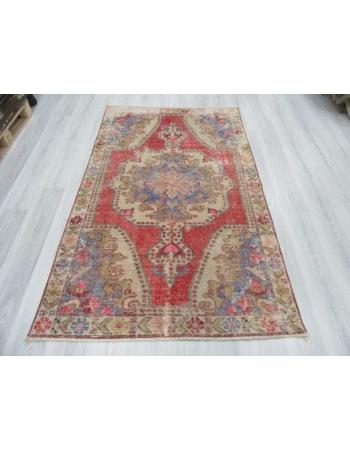 Worn out distressed decorative Turkish Konya area rug