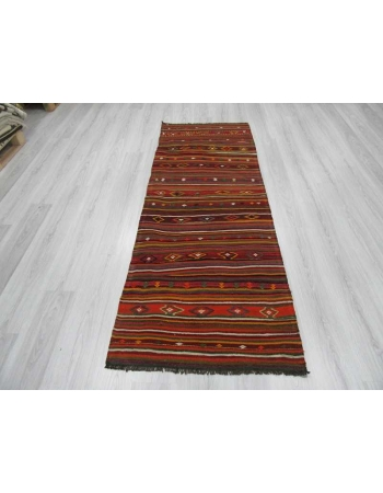 Vintage embroidered Turkish kelim runner rug