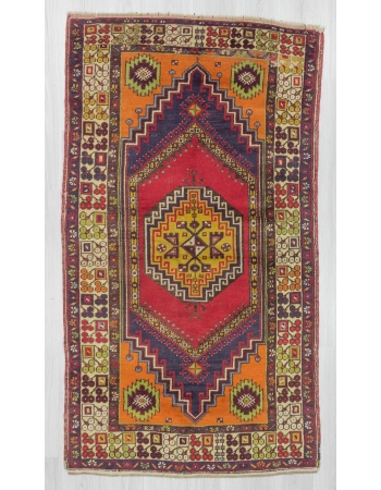Vintage traditional piled Turkish rug