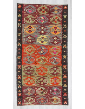 Vintage colorful Turkish kelim rug