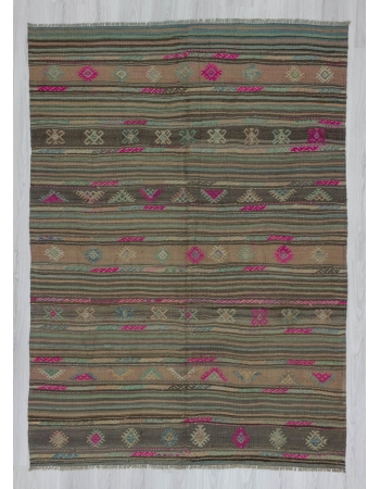 Vintage embroidered decorative Turkish kilim rug