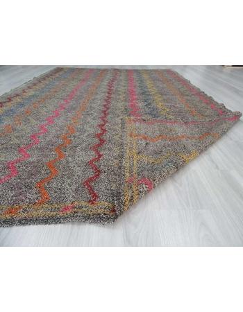 Vintage embroidered decorative Turkish kilim rug