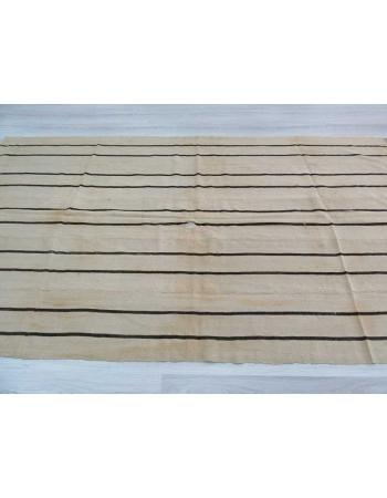 Vintage striped naturel Turkish kilim rug