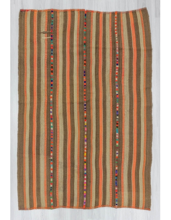 Vintage brown orange striped decorative Turkish kilim rug