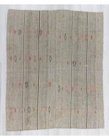 Vintage embroidered grey Turkish kilim rug