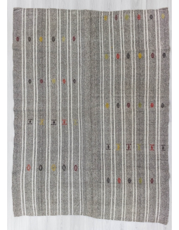 Vintage white striped grey Turkish kilim rug