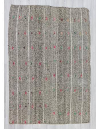 Vintage grey modern kilim rug