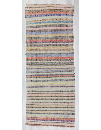 Vintage striped colorful Turkish rag runner rug