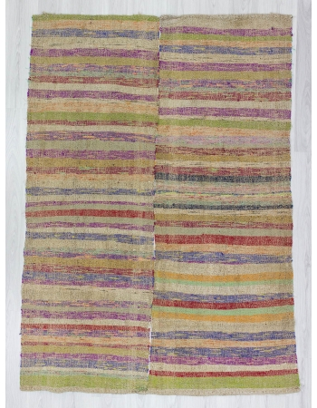 Colorful striped Turkish rag rug
