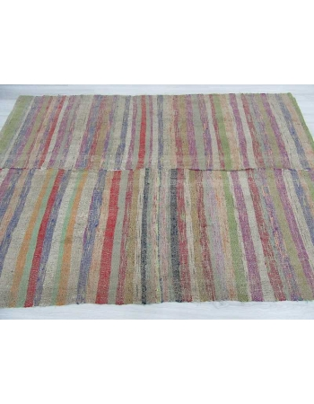 Colorful striped Turkish rag rug