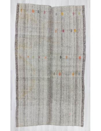 Handwoven large vintage grey Turkish kilim rug