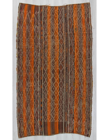 Vintage orange striped embroidered Turkish kilim rug