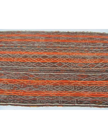 Vintage orange striped embroidered Turkish kilim rug
