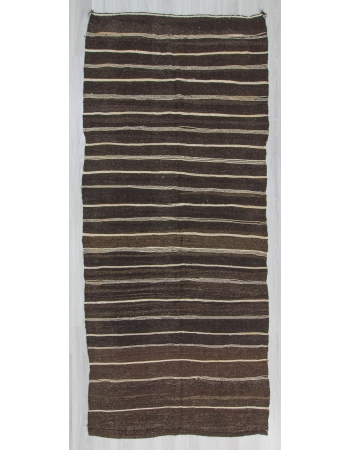 Vintage black white brown striped naturel Turkish kilim rug