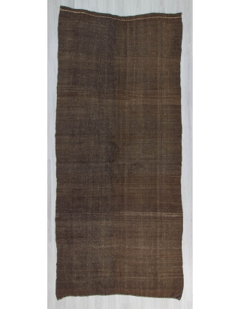 Vintage modern dark brown Turkish kilim rug