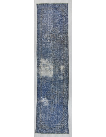 Vintage blue overdyed Turkish runner rug
