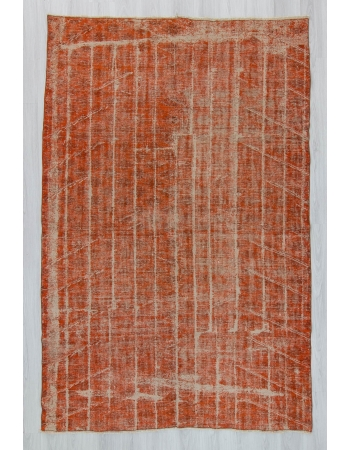 Vintage orange overdyed Turkish rug
