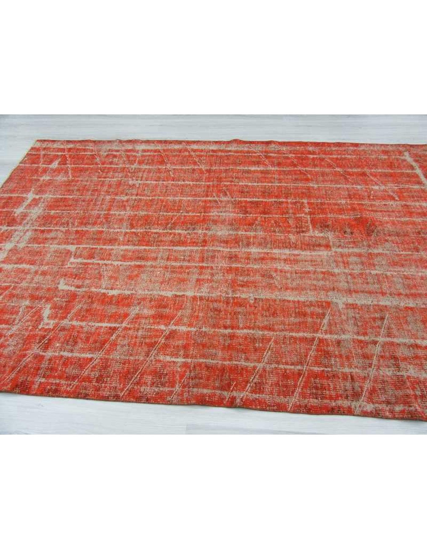 Vintage Orange Overdyed Turkish Rug