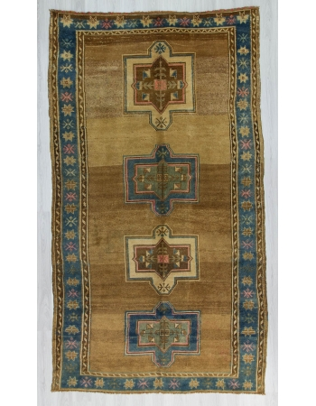 Vinytage handknotted decorative Turkish Kars area rug