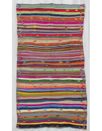Vintage vibrant striped colors Turkish kilim rug