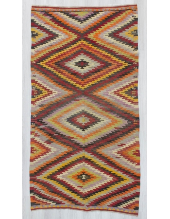 Vintage zig zag designed Turkish kilim rug
